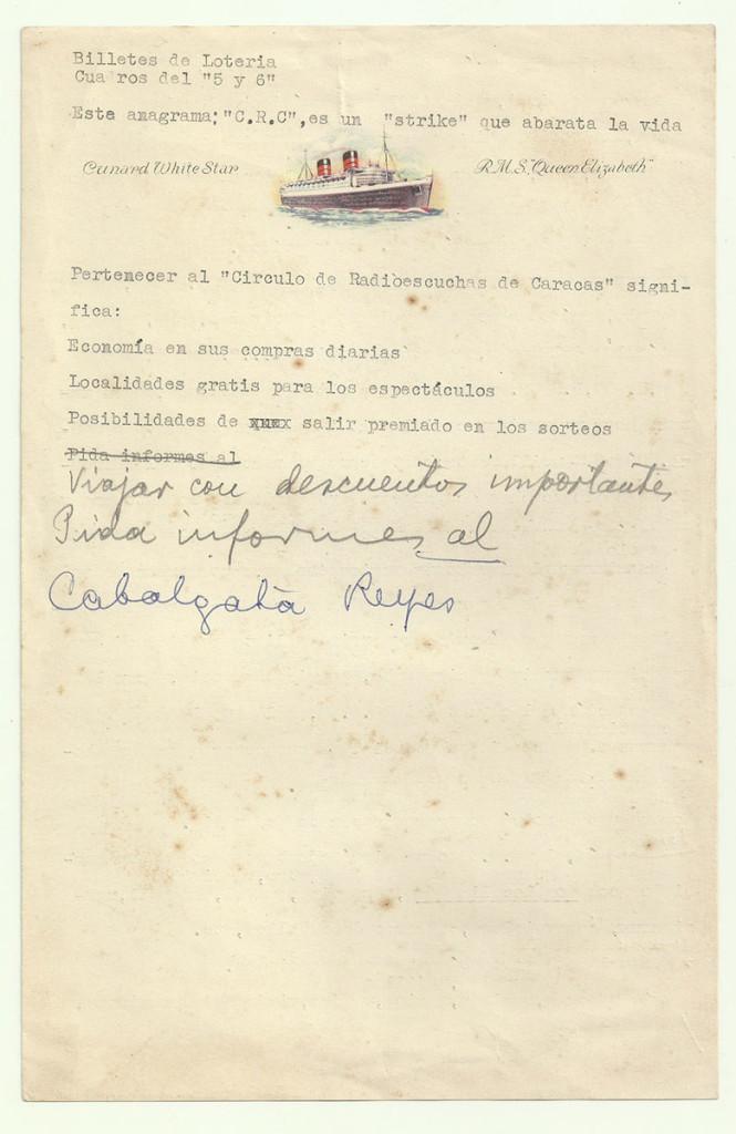Membrete comercial: «Viajar con descuentos importantes». Archivo familiar.