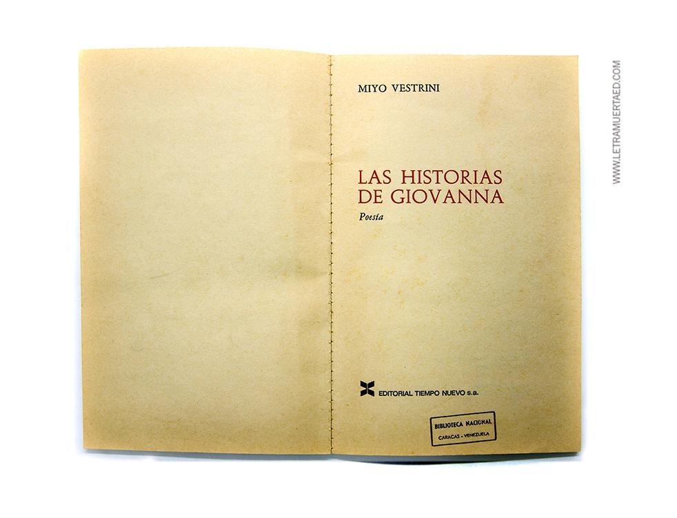 «Las historias de Giovanna». Caracas, Editorial Tiempo Nuevo, 1971.  1a. edic. Portada: Jhon Lange.